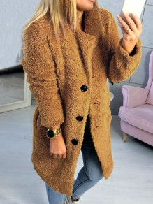 Yellow Buttons Turndown Collar Long Sleeve Oversize Teddy Coat