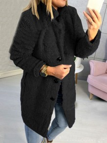 Cappotto bottoni colletto turndown manica lunga orsetto oversize nero