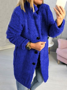 Cappotto bottoni colletto turndown manica lunga teddy oversize blu