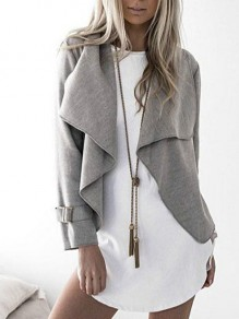Grey Studded Square Neck Long Sleeve Casual Coat