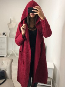 Wine Red Pockets Sashes Hooded Long Sleeve Casual Coat