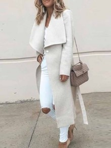 White Buttons Turndown Collar Long Sleeve Fashion Cardigan Coat
