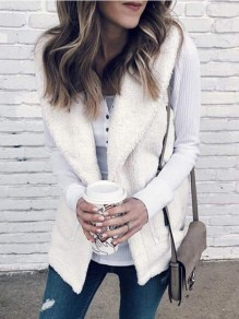 White Pockets Turndown Collar Sweet Outerwear