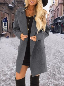 Dark Grey Pockets Turndown Collar Long Sleeve Elegant Coat