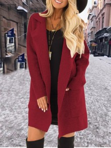 Wine Red Pockets Turndown Collar Long Sleeve Elegant Coat