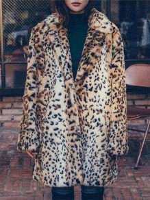 Brown Leopard Turndown Collar Long Sleeve Fashion Outerwear