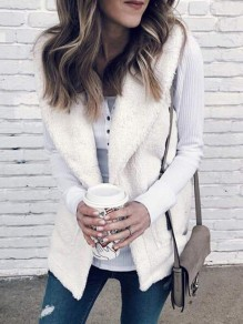 White Faux Fur Pockets Band Collar Teddy Casual Vest Coat