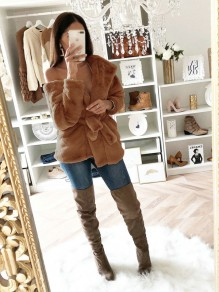 Brown Belt Hooded Long Sleeve Fashion Outerwear