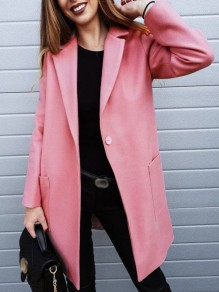 Pink Pockets Buttons Turndown Collar Fashion Coat