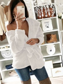White Sashes Bow Long Sleeve Casual Sweet Going out Cardigan Coat