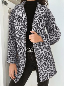 Grey Leopard Pockets Turndown Collar Fashion Outerwear