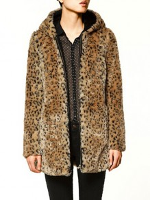 Brown Leopard Print Hooded Long Sleeve Fashion Outerwear