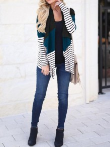Dark Green Striped Irregular Turndown Collar Fall Casual Cardigan Coat