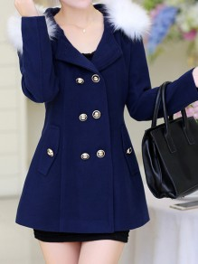 Navy Blue Fur Pockets Double Breasted Hooded Long Sleeve Elegant Coat