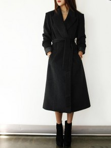 Black Belt Pockets Turndown Collar Fashion Outerwear