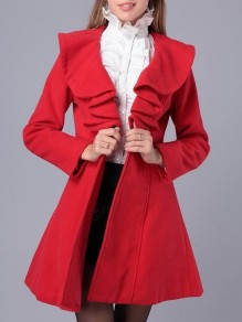 Red Ruffle Turndown Collar Long Sleeve Going out Coat