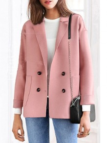 Manteau poches boutons col rabattu manches longues laine rose