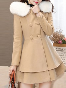 Camel Patchwork Fur Pockets Bow Ruffle Double Breasted Hooded Long Sleeve Elegant Coat
