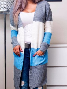 Blue Patchwork Pockets Comfy Long Sleeve Fashion Outerwear