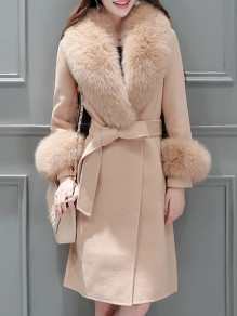 Camel Patchwork Pockets Fur Sashes Buttons Turndown Collar Long Sleeve Elegant Coat