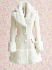 White Patchwork Fur Pockets Single Breasted Turndown Collar Long Sleeve Elegant Coat
