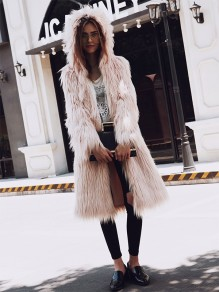 Pink Pockets Faux Fur Hooded Fashion Outerwear