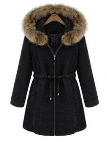 Black Drawstring Zipper Fur Collar Hooded Fashion Outerwear