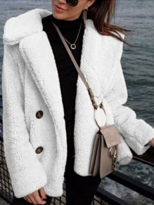 White Buttons V-neck Long Sleeve Fashion Teddy Casual Cute Coat