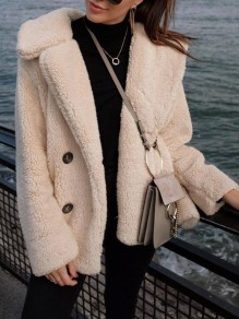 Apricot Buttons V-neck Long Sleeve Fashion Teddy Coat