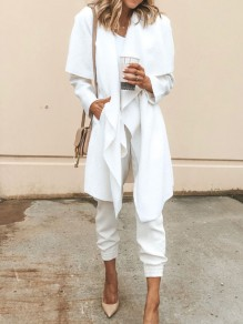 White Pockets Long Sleeve Casual Sweet Going out Coat