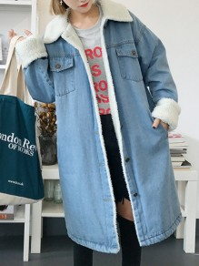 Light Blue Patchwork Pockets Fur Single Breasted Turndown Collar Long Sleeve Casual Coat