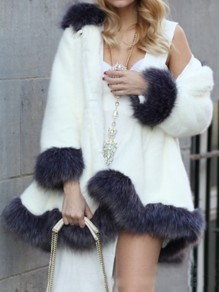 White Hooded Long Sleeve Fashion Faux Fur Coat