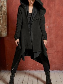 Black Irregular Pockets Draped Zipper Hooded Long Sleeve Casual Coat