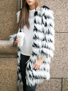 White Striped Print Round Neck Long Sleeve Fashion Faux Fur Outerwear