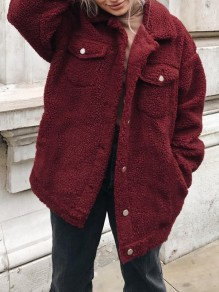 Wine Red Pockets Turndown Collar Long Sleeve Fashion Coat