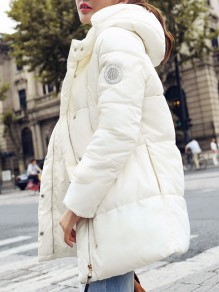 White Pockets Hooded Long Sleeve Going out Coat