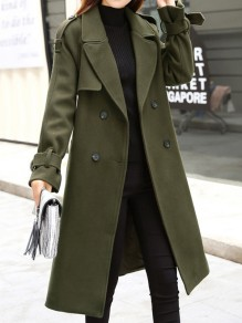 Army Green Pockets Sashes Turndown Collar Long Sleeve Elegant Coat