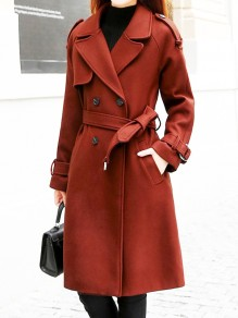 Brown Pockets Sashes Turndown Collar Long Sleeve Elegant Coat