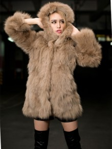 Khaki Faux Fur Pockets Hooded Fashion Outerwear