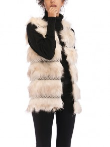 Apricot Patchwork Fur Comfy V-neck Fashion Outerwear