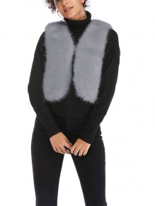 Grey Fur V-neck Comfy Going out Outerwear