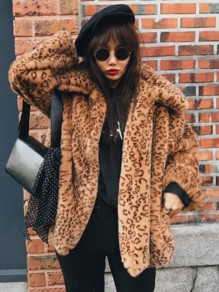 Brown Leopard Print Turndown Collar Long Sleeve Fashion Faux Fur Coat