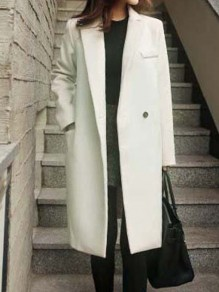 White Pockets Turndown Collar Long Sleeve Elegant Coat