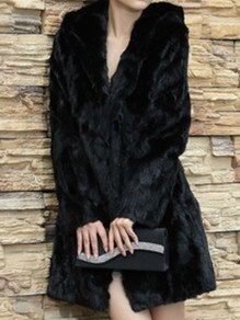 Black Hooded Long Sleeve Fashion Faux Fur Coat