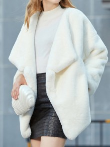 White Faux Fur Pockets Turndown Collar Long Sleeve Oversize Coat