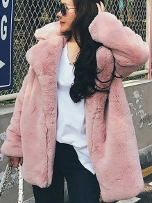 Pink Faux Fur Pockets Turndown Collar Long Sleeve Coat