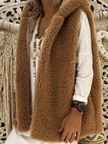 Brown Plain Sleeveless Hooded Going out Fashion Cardigan Coat