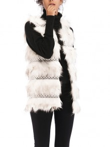 White Patchwork Fur Comfy V-neck Fashion Outerwear