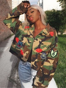 Camouflage Lip Patch Pockets Buttons Long Sleeve Turndown Collar Casual Denim Outerwear