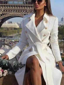 White Sashes Pockets Buttons Square Neck Long Sleeve Fashion Long Peacoat Coat